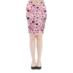 Red Floral Seamless Pattern Midi Wrap Pencil Skirt