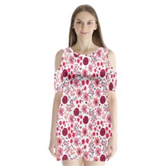 Red Floral Seamless Pattern Shoulder Cutout Velvet  One Piece