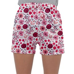 Red Floral Seamless Pattern Sleepwear Shorts
