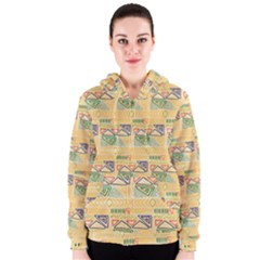 Hand Drawn Ethinc Pattern Background Women s Zipper Hoodie