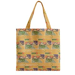 Hand Drawn Ethinc Pattern Background Zipper Grocery Tote Bag