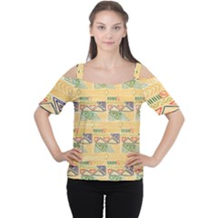 Hand Drawn Ethinc Pattern Background Cutout Shoulder Tee