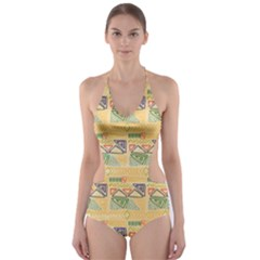Hand Drawn Ethinc Pattern Background Cut Out One Piece Swimsuit