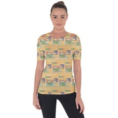 Hand Drawn Ethinc Pattern Background Short Sleeve Top