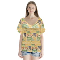 Hand Drawn Ethinc Pattern Background Flutter Sleeve Top