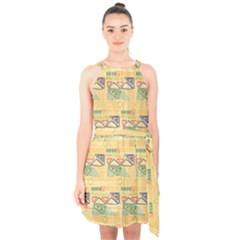 Hand Drawn Ethinc Pattern Background Halter Collar Waist Tie Chiffon Dress