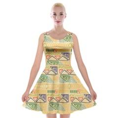 Hand Drawn Ethinc Pattern Background Velvet Skater Dress