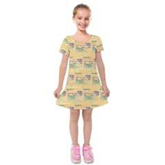 Hand Drawn Ethinc Pattern Background Kids  Short Sleeve Velvet Dress