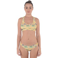 Hand Drawn Ethinc Pattern Background Cross Back Hipster Bikini Set
