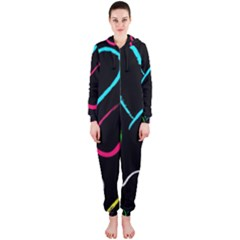 Heart Drawing Pattern Multi Colored  Hooded Jumpsuit (ladies)