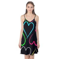 Heart Drawing Pattern Multi Colored  Camis Nightgown