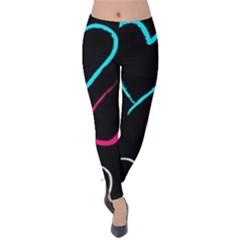 Heart Drawing Pattern Multi Colored  Velvet Leggings
