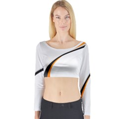 Gallery For  Abstract White Long Sleeve Crop Top