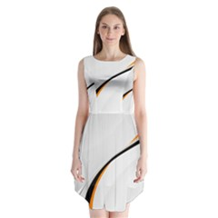 Gallery For  Abstract White Sleeveless Chiffon Dress