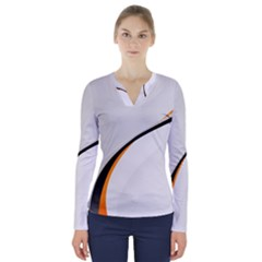Gallery For  Abstract White V Neck Long Sleeve Top