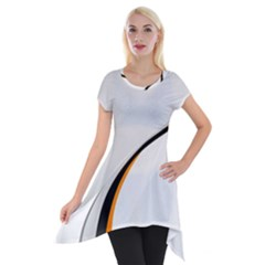 Gallery For  Abstract White Short Sleeve Side Drop Tunic