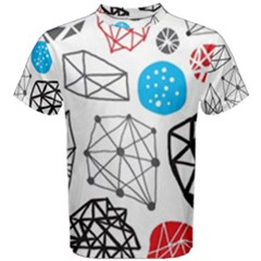 Blue Black Red White Shape Pattern  Men s Cotton Tee