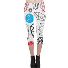 Blue Black Red White Shape Pattern  Capri Leggings