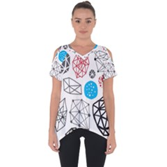 Blue Black Red White Shape Pattern  Cut Out Side Drop Tee