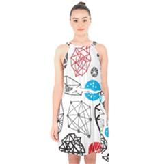 Blue Black Red White Shape Pattern  Halter Collar Waist Tie Chiffon Dress