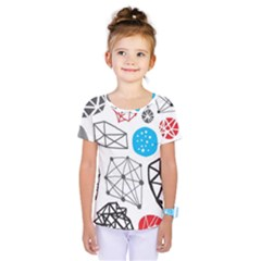 Blue Black Red White Shape Pattern  Kids  One Piece Tee