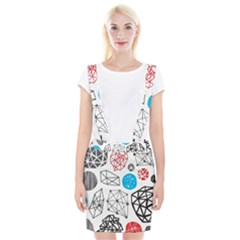 Blue Black Red White Shape Pattern  Braces Suspender Skirt