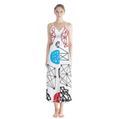 Blue Black Red White Shape Pattern  Button Up Chiffon Maxi Dress