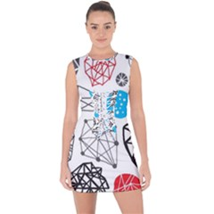 Blue Black Red White Shape Pattern  Lace Up Front Bodycon Dress
