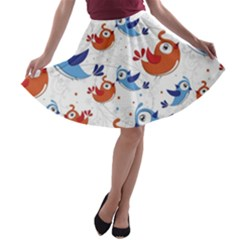 Birds Patterns Blue Orange  A Line Skater Skirt
