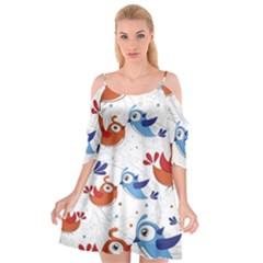 Birds Patterns Blue Orange  Cutout Spaghetti Strap Chiffon Dress