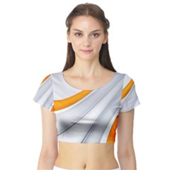 Abstraction Yellow White Line  Short Sleeve Crop Top (tight Fit)