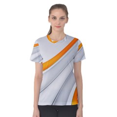 Abstraction Yellow White Line  Women s Cotton Tee