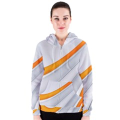 Abstraction Yellow White Line  Women s Zipper Hoodie