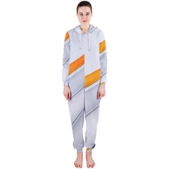Abstraction Yellow White Line  Hooded Jumpsuit (ladies)