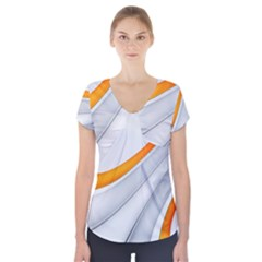 Abstraction Yellow White Line  Short Sleeve Front Detail Top