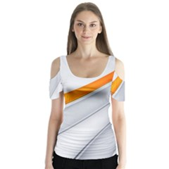 Abstraction Yellow White Line  Butterfly Sleeve Cutout Tee