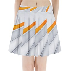 Abstraction Yellow White Line  Pleated Mini Skirt