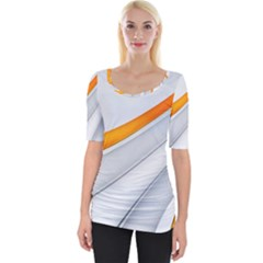 Abstraction Yellow White Line  Wide Neckline Tee