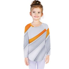 Abstraction Yellow White Line  Kids  Long Sleeve Tee