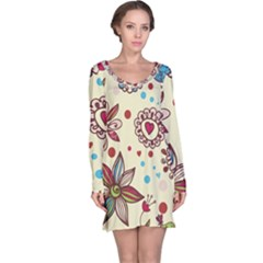 Texture Birds Hearts Background Balls Surface  Long Sleeve Nightdress