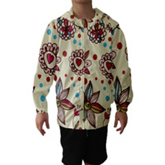 Texture Birds Hearts Background Balls Surface  Hooded Wind Breaker (kids)