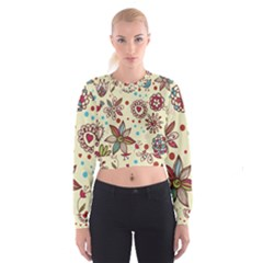 Texture Birds Hearts Background Balls Surface  Cropped Sweatshirt