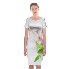 Fragility Flower Petals Tenderness Leaves  Classic Short Sleeve Midi Dress