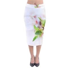 Fragility Flower Petals Tenderness Leaves  Velvet Midi Pencil Skirt