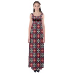Cells White Black Gray  Empire Waist Maxi Dress