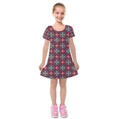 Cells White Black Gray  Kids  Short Sleeve Velvet Dress
