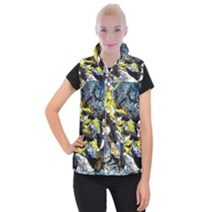 Drawing Skeleton Bright Girl Vector Vivid  Women s Button Up Puffer Vest