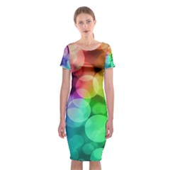 Abstraction Multicolored Glare  Classic Short Sleeve Midi Dress