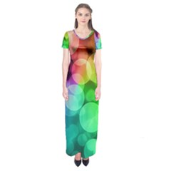 Abstraction Multicolored Glare  Short Sleeve Maxi Dress