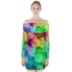 Abstraction Multicolored Glare  Long Sleeve Off Shoulder Dress